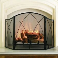 """Fireplace Screen 30""""x48"""" 3-Panel Black Steel Mesh Victorian Gothic Accent Decor"""
