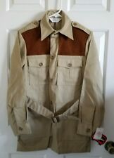 VTG Woolrich Sports Wear Safari Shooting Shirt Jacket Mackinaw Pocket Belt Sz S