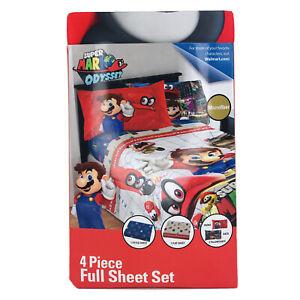 Nintendo Super Mario Odyssey 4-Piece Full Size Sheet Set New Switch Kids