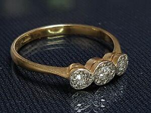 BEAUTIFUL  ANTIQUE 18ct YELLOW GOLD/PLAT DIAMOND TRILOGY BAND RING SIZE R 1/2