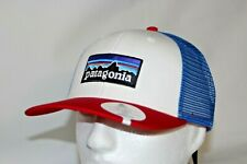 Patagonia P-6 Logo Mid Crown Trucker Mesh Snapback Hat in Red White Blue
