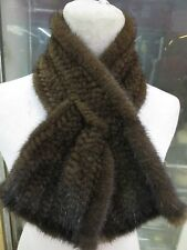 Fashion /real mink fur handmade knitted fishtail scarf brown