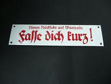 """Wehrmacht Fernsprecher Emaille Schild /""""Fasse dich kurz!/"""" 8 x 30 cm"""