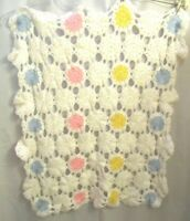 """Handmade Crocheted Floral Afghan Baby Throw Blanket - Approximately 38"""" X """"30"""
