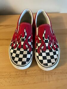 VANS Classic Slip On Checker Flame Red Drip Canvas Shoes 9.5 M/11 W