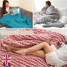 Chunky Knitted Thick Blanket Hand Yarn Bulky Knit Throw Sofa Blanket 120 by 150