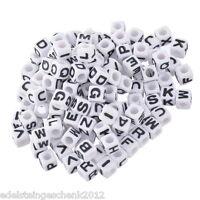 """300 Weiß Buchstaben """"A-Z"""" Acryl Würfel Beads Perlen Spacer 7x7mm"""