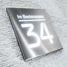 Metzler Hausnummer Edelstahl LED Beleuchtung Hausnummernleuchte Straßenname