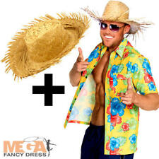 Hibiscus Hawaiian Shirt + Hat Mens Fancy Dress Tropical Beach Adults Costume Kit