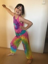 Kids Tie-Dyed Unisex Singlet Rainbow Pink/Purpl/Tosca 6-8yrs Great for Christmas