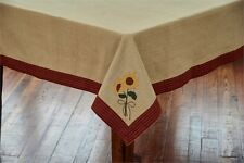 Country Sunflower Blooms Tablecloth 60X84 Taupe Cotton Fall Autumn Farmhouse