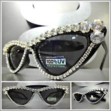CLASSIC VINTAGE RETRO Cat Eye Style SUNGLASSES Unique Black Frame Bling Crystals