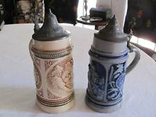 2 Early Antique German Beer Steins,Lidded Pewter Hinged Tops,Salt Glaze Pottery