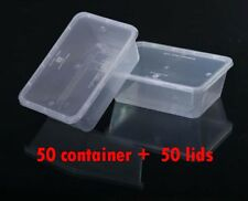 100 Pcs 750 ml rectangular plastic take away container and lids (50pairs)