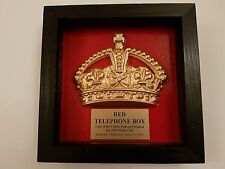 RED TELEPHONE BOX CAST OF CROWN IN A BOXED PRESENTATION FRAME K6 , BOOTH, KIOSK