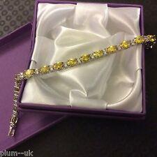 "GB Yellow citrine & sim diamond 7"" white gold gf tennis bracelet Plum UK BOXED"