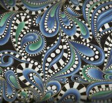 Cat i tude II paisley swirl blue Benartex fabric