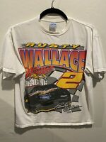 Vintage Rusty Wallace Miller's Beer Nascar Racing White T-shirt size XL Tultex