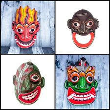 """Lot of 4 Asian Handmade 8"""" Wood Wall Home Decor Masks (For Good Vibes)"""