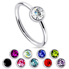 5Pcs Wholesale Crystal Surgical Steel Nose Ring Seamless Hoop Jewelry gauge 18g