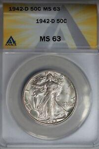 1942-D  .50   ANACS  MS 63  Walking Liberty, Half Dollar, Lady Liberty Half