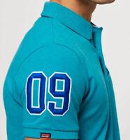 Superdry Premium Mens Classic Pique Polo Shirt, Spearmint Grit, Size 2XL