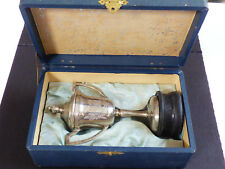 VTG Heiwa Nippon box Silver Plated Urn with wood stand Trophy Country Club sport