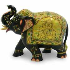 Indian Handmade solid Wooden Painting Elephant Idol Statue Home Decorative Gift