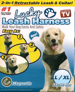 Retractable Magnetic 2-in-1 Dog Leash Lucky Leash with Collar L/XL SAME-DAY SHIP