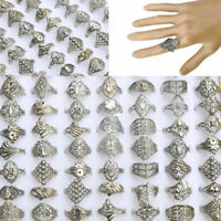50pcs Wholesale Lot Jewelry Mixed Style Tibet Silver Vintage Hollow Rings Bulk