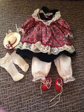 "Vintage porcelain doll Clothes/Outfit. Fit 16"" Doll. Dress, Red Shoes, Hat, Bow"