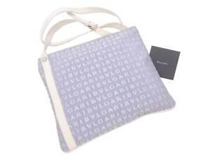 Auth BVLGARI Logo Mania Shoulder Bag White/Light Blue Canvas/Leather - e48044a