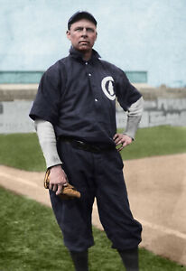 """Mordecai """"The Finger Brown"""" (baseball legend) - 1910s - COLORIZED!!! 11x14"""