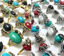 50 MIX Carved Flower Setting Turquoises Stone Rings Wedding Anniversary Jewelry