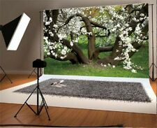 7x5FT Vinyl Photo Backdrops Old Trees Flowers Photography Background Studio Prop