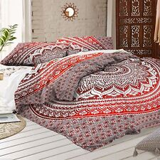 Red Pink Ombre Mandala Duvet Cover Pillowcases Indian Donna Cover Set of 3 pcs