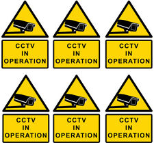 CCTV (6x) in operation warning sign sticker, yellow, medium A5 size 150x210mm