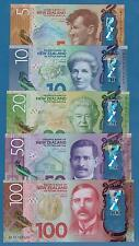 New Zealand Set 5 Polymer 5 + 10 + 20 + 50 + 100 Dollars P New 2015 / 2016 UNC
