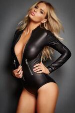 Long sleeve wet look spandex zip front S/M Bodysuit dance wear Lingerie junkie