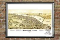 Old Map of Monongahela City, PA from 1902 - Vintage Pennsylvania Historic Decor