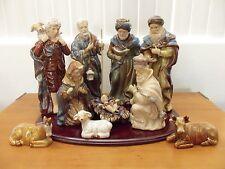 10 Piece Glazed Porcelain Ceramic Christmas Nativity Set - Mahogany Finish Tray