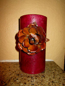 Metal Rusty Rose Candle Pin for Pillar Candles. Hacienda, Rustic decor. Handmade