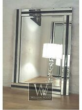 "Eva Black Glass Framed Rectangle Bevelled Wall Mirror 28"" x 20"" Medium"