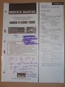 Sansui Service/Repair Manual~A-1200R/1100R Amplifier