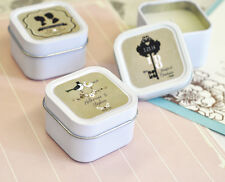 96 Personalized Square Tin Vintage Wedding Candles Bridal Shower Wedding Favors