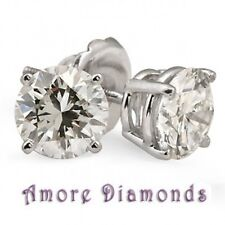4.02ct I SI round natural diamond solitaire 4 prong stud earrings 18k white gold