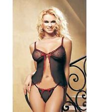 Leg Avenue Sexy 2 Pc Hearts and Ribbon BabyDoll Nightie and G String (81002)