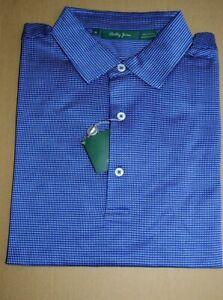 $99 NWT BOBBY JONES Coast Blue w/ white micro check Medium cotton polo shirt 🏌️