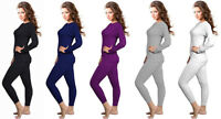Womens 2pcs Ultra-Soft Fleece Lined Thermal Underwear Set Long Johns S to 2XL