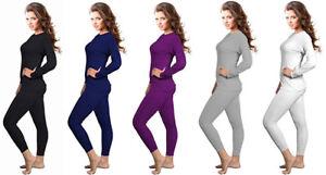 Womens 2pcs Ultra-Soft Fleece Lined Thermal Underwear Set Long Johns S to 2XL